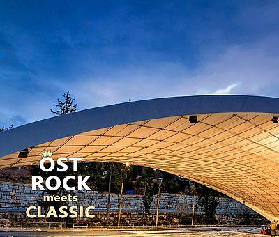 Schierker Feuerstein Arena erleuchtet mit dem Logo von Ostrock meets Classic